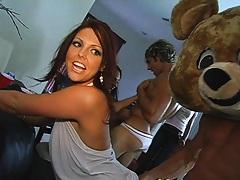 Dancing bear entertaining during a house call