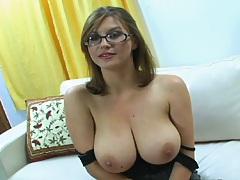 Hot slut in glasses Sara Stone showing big natural tits