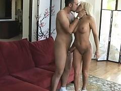 Blonde hot pornstar rides a sock spreading ass