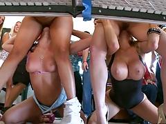Big tits sluts Diamond Kitty and Alexis Fawx hitting local college dorm