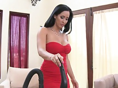 Milf calls in an in home vacuum demonstration