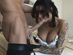 Hot bride sucks a big cock