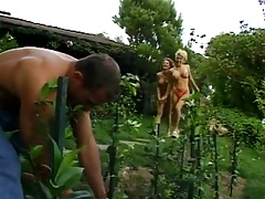 Outdoor gardening time with Margot Stevens and Sadie Sexton getting licked