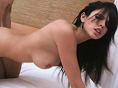 Great doggy fuck in this silky white bed