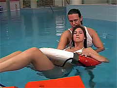 Brunette teenie gets face jizzed in a pool