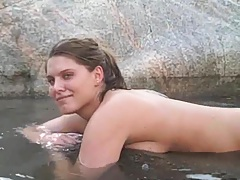 Mifl is all naked in the hot springs outside