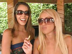 Babes go inside after a tasty bbq for some all girl fun
