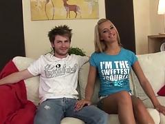 Cute teen in tiny shorts seduces her boyfriend