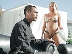 Samantha Saint in tight bikini comes in guy