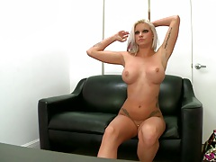 Big tits audition and interview with naked Deadra Dee