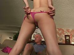 Nicole Ray likes old men kissing her all over