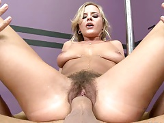 Bree Olson reverse cowgirl with hair pussy