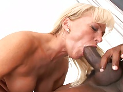 Interracial blowjob from natural tits Renata D and cowgirl fuck