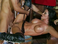 Shaved pussy tight ass Savannah fucked on a bucket