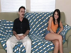 Petite Chelsie Rae sucks cock half dressed with cfnm