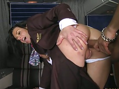 Tanya Tate and Veronica Avluv are in a cfnm group fuck aboard a plane