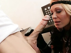 Big dick milf blowjob from Charlee Chase on the office couch