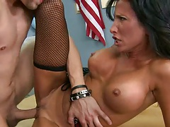 Miss Zen spreads her milf teacher pussy for student