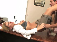 Taking off Brooklyn Lee bra and panties for fuck on office desk