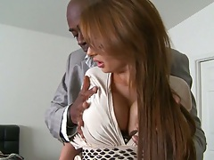 Brunette big tits milf Alison Star takes huge black cock in mouth