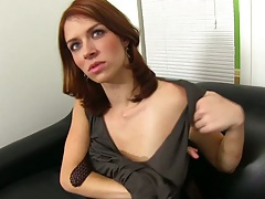 Sexy redhead Nicole Rider taking off her shirt not wearing a bra to audition
