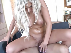 Vicky Vee sits on dick and rides it with moaning holding her tits