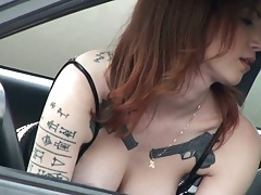Hot babe in fishnets blowjob in the car