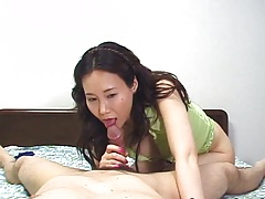 Asian pov blowjob and great handjob