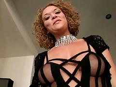 Sexy lingerie Sativa sucking big black cock and dildo fuck