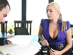 Big tits boss blonde babe is a new rep