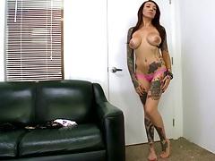 Posing brunette Mila Treasure in audition sucking large dildo