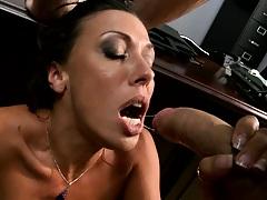 Hardcore sweaty cock sucking and titty fuck
