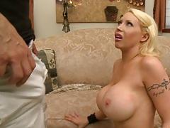 Big tits blonde milf deepthroat and titty fuck