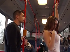 Bonnie public bus seducing teen gets man dick from behind