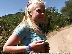 Outdoor teen play with Little Summer in a miniskirt