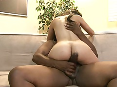 Interracial cowgirl sex and shaved pussy entry