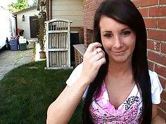 Mia Valentine walks around the backyard outdoors