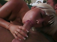 Blowjob from blonde Sharon Wild and half dressed reverse cowgirl
