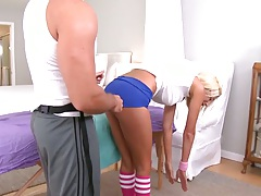 MIlf Puma Swede wearing hotpants and getting ass touched for massage