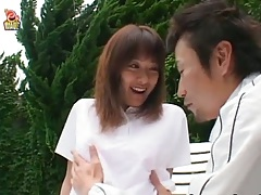 Asian outdoor tongue licking with teen Issa