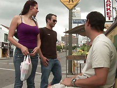 Threesome outdoor meet up for Gianna Michaels and their huge cocks