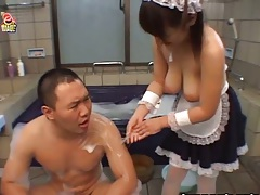 Big tits asian maid helps due after bath