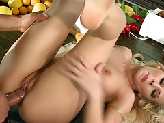 Madison Ivy with those huge tits fucked on kitchen table