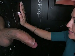 Big dick glory hole blowjob with fully clothed great babe Vanessa Luna
