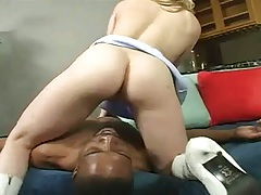 Interracial with Kayla in 69 and licking his balls