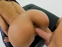 Brunette big tits slut pumped from the rear side