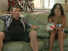 Chatting and having a bite with asian Kaylani Lei then some group