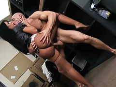 Mason with big tits turns around and sits on bosses dick
