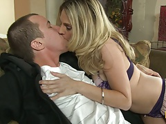 Making out milf Angela Attison in sexy bra and panties sucking on some balls