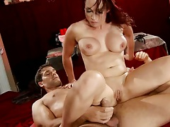 Nicki Hunter sits on Lucas Stone cock with her tight milf anus and double penetration
